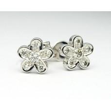 Diamantové náušnice - Kytičky NA004