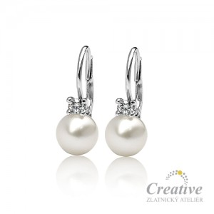Náušnice s perlami a diamanty