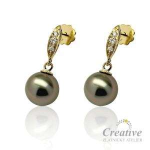 Náušnice s tahitskými perlami a diamanty