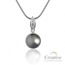 Přívěsek s černou tahitskou perlou