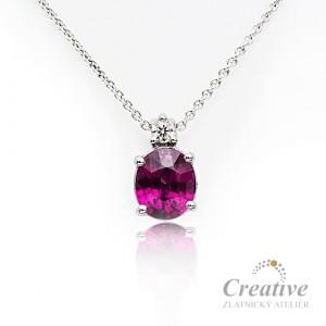 Přívěsek s diamantem a rhodolitem