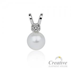 a2c82e023 Přívěsek s perlou Akoya a diamanty
