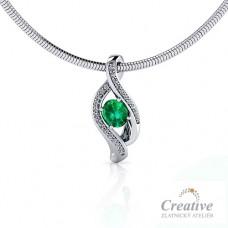 Přívěsek s diamanty a smaragdem NAH017
