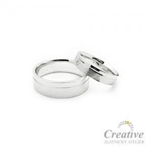 Snubní prsteny bílé zlato SP015