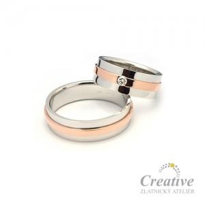 Snubní prsteny kombinované SP022