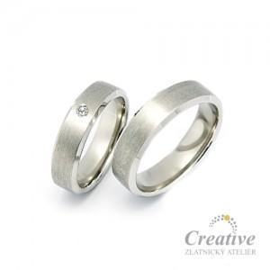 Snubní prsteny bílé zlato SP033