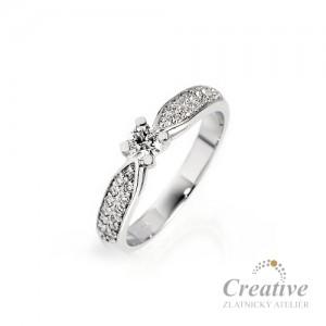 Luxusní zásnubní prsten s diamanty ZSP059