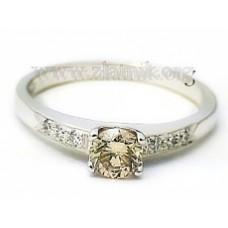 Zásnubní prsten se zlatohnědým diamantem ZSP025